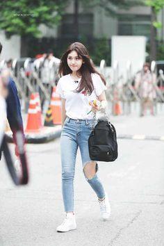Pin Image by Bunda Hijaber Fashion Idol, Kpop Fashion Outfits, Blackpink Fashion, Korean Outfits, Asian Fashion, Girl Outfits, Cute Outfits, Girls Ripped Jeans, Airport Fashion Kpop