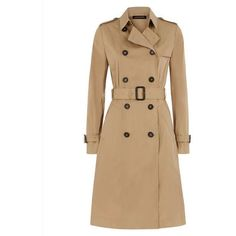 Jaeger Jaeger Twill Trench Coat ($120) ❤ liked on Polyvore featuring outerwear, coats, jaeger coat, mid length coat, double breasted trench coat, double breasted coat and beige coat