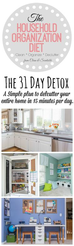 The Household Organization Diet: 31 Day Detox 2015 - A simple plan to declutter your entire home in 15 minutes per day. Home Organisation, Household Organization, Organization Hacks, Organizing Ideas, Decluttering Ideas, Organization Station, Declutter Your Home, Organize Your Life, Organizing Your Home
