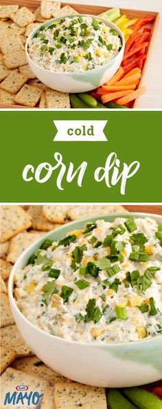 Cold Corn Dip – Liven up the next summer get-together with our fantastically creamy appetizer recipe. Whether it's served with your favorite crackers or crisp vegetables, this spread has all the flavor you look for in a party-worthy dish. Yummy Appetizers, Appetizers For Party, Appetizer Recipes, Party Dips, Party Snacks, Cold Summer Appetizers, Halloween Appetizers, Appetizer Ideas, Party Party