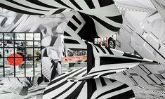 Tobias Rehberger op art black white glass installation