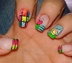 I like all the designs expect the ring finger. Crazy Nail Art, Crazy Nails, Love Nails, How To Do Nails, Fun Nails, Perfect Nails, Gorgeous Nails, Pretty Nails, Colorful Nail Designs