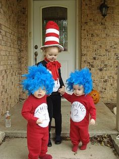 Halloween Costumes. Just need one more Cat in the hat themed costume and this would be perfect!!!
