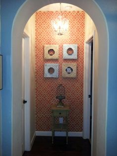 Morrocan stenciled wall in burnt orange. I love how it turned out!