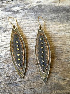 Tribal Shield Earrings by cristinaleonard on Etsy, $85.00