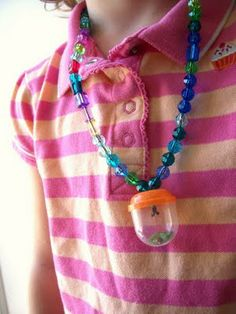 Bug Catcher Necklace -- cool for lightning bugs. Just make sure to let them have fresh air every 30 mins...Also found in Family Fun Magazine