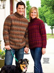 His and Hers Outdoor Sweaters: Men's Crochet Sweaters - free patterns your guy will love! #crochet