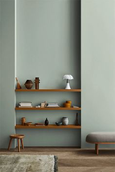 Jotun Lady just came out with their new color chart for 2020 and it makes me want to paint all the surfaces in my apartment in those subtile, yet deep tints. I'm really falling for that Local green wall color … Continue reading → Decor Room, Living Room Decor, Bedroom Decor, Bedroom Table, Dining Room, Ikea Bedroom, Bedroom Furniture, Green Wall Color, Green Colors