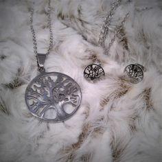 Conjunto de collar y pendientes de acero inoxidable para mujer del arbol de la vida - BisuteriaDeModa.es