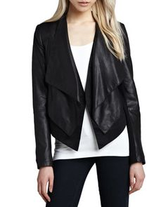 Cusp by Neiman Marcus Layered Ponte/Leather Jacket at CUSP.
