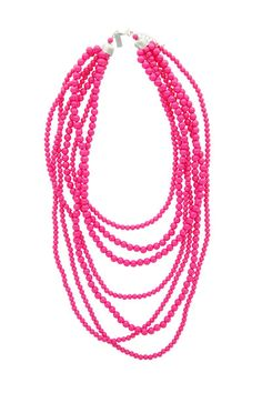 """7 Strands of beads in varied sizes and lengths add interest and a pop of color to your outfit! We add new colors every season to keep you right on trend! The smallest strand measures 18"""" long and the"""