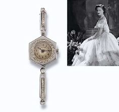 A LADY'S ART DECO DIAMOND WRISTWATCH, BY CARTIER  The circular cream dial with Arabic numerals and blued steel hands within a rose-cut diamond border and hexagonal case to the sprung baton link bracelet set with rose and old-cut diamonds, 1911, 16.0 cm. minimum circumference, in later red leather Cartier case Dial signed Cartier Paris, No. 2298