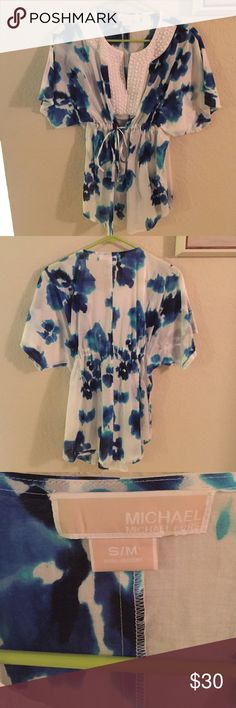 Michael Kors top Watercolor blouse, with beading detail. Great for a beach vacay! Michael Kors Tops Blouses