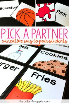 Choosing partners can be a daunting task for teachers and students alike. These cards are a fun, random way to help with assigning partners in the classroom! Classroom Design, Classroom Organization, Classroom Ideas, Teacher Tools, Teacher Stuff, Class Management, Classroom Management, Community Building Activities, Partner Cards