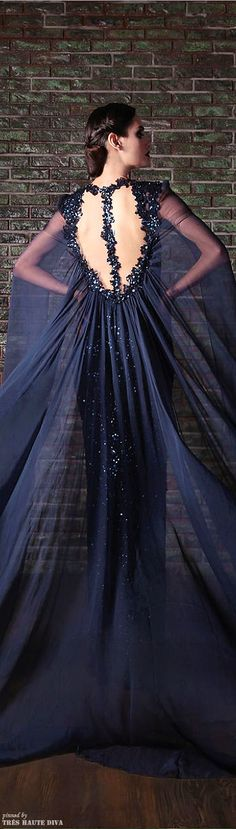 Navy blue dress Rami Kadi<< this is perfect for a character I have in mind
