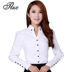 shirt running on sale at reasonable prices, buy TLZC Elegant Women Career White Shirts Size Long Sleeve Button Design Clothing 2018 Office Classic Lady Casual Blouses from mobile site on Aliexpress Now! Ladies Shirts Formal, Formal Blouses, Blouses 2017, White Shirts Women, Blouses For Women, Modelos Fashion, Minimalist Fashion Women, Mode Outfits, Elegant Woman