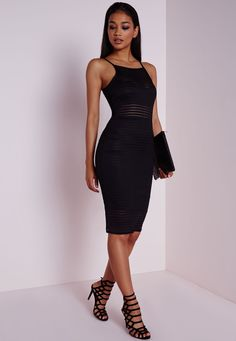 Missguided - Burnout Stripe Mesh Midi Dress Black