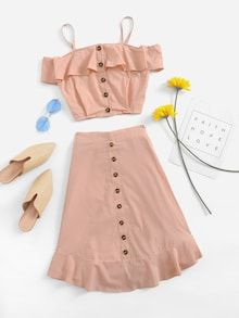 Shop Open Shoulder Ruffle Trim Top With Shorts online. ROMWE offers Open Shoulder Ruffle Trim Top With Shorts & more to fit your fashionable needs. Girls Fashion Clothes, Kids Outfits Girls, Cute Girl Outfits, Teen Fashion Outfits, Cute Summer Outfits, Cute Casual Outfits, Pretty Outfits, Pretty Dresses, Girl Fashion