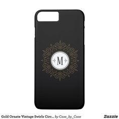 Gold Ornate Vintage Swirls Circular Monogram iPhone 8 Plus/7 Plus Case