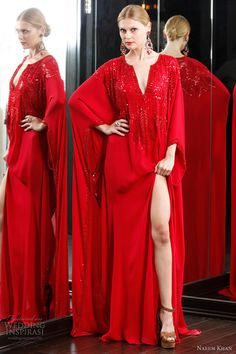 naeem khan 2012 caftan dresses - red kaftan with beaded detail
