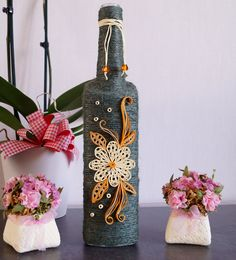 bottle decor, wine bottle decor, decorated bottles, home wine bottle decor, custom wine bottle, twine wrapped wine bottles, wine bottle art by InnArtShop on Etsy