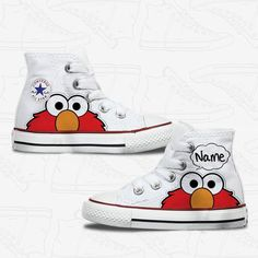 Toddler Elmo! Disney Painted Shoes, Painted Canvas Shoes, Custom Painted Shoes, Painted Sneakers, Hand Painted Shoes, Basket Style, Custom Vans Shoes, Converse Tennis Shoes, Hype Shoes