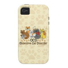 OCD Obsessive Cat Disorder Case-Mate iPhone 4 Covers. 10 colorful cats in different colors. Funny cat spoof / parody to obsessive compulsive disorder. For cat lovers and even hoarders. Do they call you the crazy cat lady? Or know anyone who is or could be? See this pattern on iPhones, iPads, Samsungs, Motorola, Kindle, Sleeves for iPad, Laptop, MacBook, etc.. Here: http://www.zazzle.com/ironydesigns/electronics?cg=196044622991111413&rf=238222968750191371&CMPN=zBookmarklet