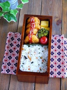 Chicken nuggets and rice bento