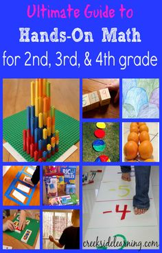 Ultimate Guide to Hands-On Math for and Grade featured at Creekside Learning. This is a collection of awesome, meaningful Math center activities. Maths Guidés, Math Classroom, Teaching Math, Second Grade Math, 4th Grade Math, Grade 2, 2nd Grade Math Games, Math Strategies, Math Resources