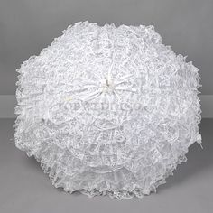White Ruffled Lace Wedding Umbrella with Flowers