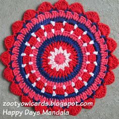 Ravelry: Happy Days Mandala pattern by zelna olivier Crochet Trivet Patterns, Crochet Mandala Pattern, Crochet Circles, Crochet Round, Doily Patterns, Crochet Patterns For Beginners, Cute Crochet, Irish Crochet, Crochet Doilies