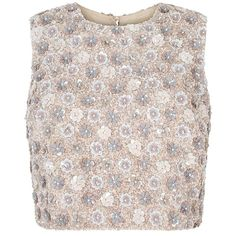 Sequin-Daisy-Bodice-Top (€795) ❤ liked on Polyvore featuring tops, shirts, crop tops, daisy shirts, pink sequin shirt, shirt crop top, pink silk shirt and sequin crop top