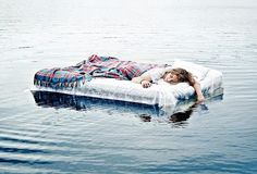 sleep on a blow up mattress in the middle of a lake like on parent trap
