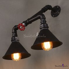 Mottled Rust Iron 2 Light Pipe Wall Sconce with Red Valve