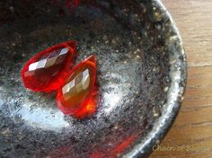 Red Crystal Quartz Faceted Briolette Top Drilled  by chainofbeads