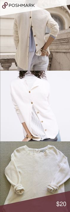 Madewell Button-Back Sweater A honeycomb stitch, with curved hem. Super cute a bit unbuttoned. True to size. Cotton/viscose/nylon. Hand wash. There is some pilling/signs of wear across the front. Color is cream and there are some light marks if you look really closely. Hasn't been worn much the fabric/color is hard to keep perfect. Madewell Sweaters Crew & Scoop Necks