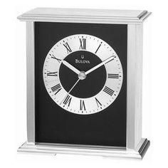 Bulova Baron Silver and Black Mantel Clock - B2266