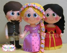 Kit Rapunzel, com 5 bonecos confeccionados em feltro.