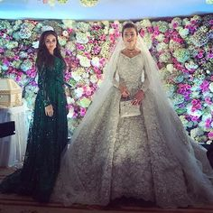 """Pin for Later: Billionaires, Royals, and Even Blair Waldorf All Turned to This Fashion House For Their Big Day Russian Bride Khadija Uzhakhovs's Elie Gown Made Headlines When She Said """"I Do"""" The voluminous dress sparkled and shined on her big day."""