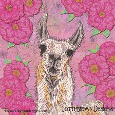 Perfectly Pink Llama Art - fun, floral animal art, created digitally from drawings — Drawing Your Way with Lotti Brown Designs #llama #llamaart #animalart #drawing #digitalart #digitalartist #drawingyourway #lottibrown