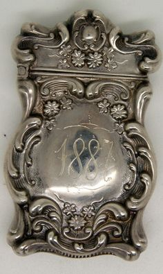 Antique 1887 Sterling Silver JTG Monogram Ornate Floral Match Safe Vesta LQQK | eBay