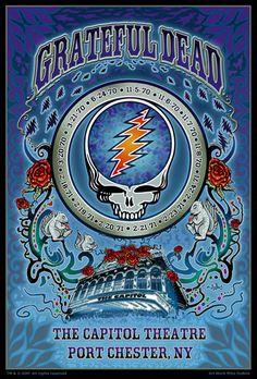 Capitol Theatre, Port Chester NY 💀💀 My brother's fav⚡ Grateful Dead Live, Grateful Dead Poster, Rock Posters, Band Posters, Cover Art, Cd Cover, Album Covers, Dead Images, Vintage Concert Posters