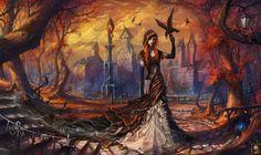 raven woman | ... Autumn 2 Picture (2d, fantasy, landscape, girl, woman, raven, autumn