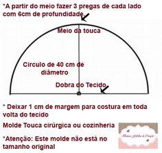 Touca Hospitalar Feminina Tamanho Único     Tecido Tricoline, viés 3,5 branco, elástico,   detalhes em fuxico e botão,     Como fazer, cl...