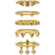 Luv AJ The Medley Stone Ring Set ($140) ❤ liked on Polyvore featuring jewelry, rings, stackers jewelry, stone jewelry, stone charms, stone jewellery and 14 karat gold ring