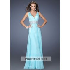 Light Mint V-Neck Beaded Long Chiffon Evening Gown