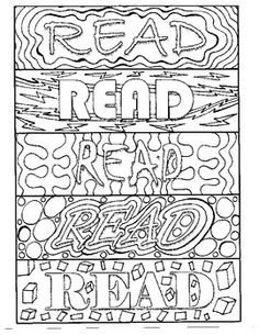 Bookmarks to color, all with the READ message. Each bookmark has a unique design, giving students 15 different choices. Great as a center, reward, or just for fun! Inspire reading with this fun activity! Reading Bookmarks, Bookmarks Kids, Bookmarks To Color, Coloring Book Pages, Coloring Sheets, Free Printable Bookmarks, Bookmark Template, Library Activities, Little Free Libraries
