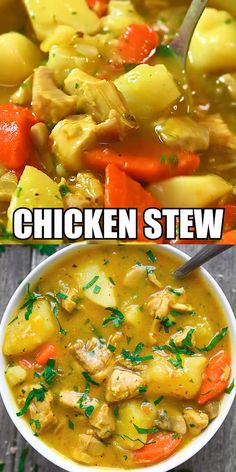 This Chicken Stew is made with juicy chicken meat, tasty mushrooms, potatoes, ca. - My Pano - Dinner Recipes Stew Chicken Recipe, Chicken Recipes, Chicken Chili, Chicken Soups, Recipe For Soup, Chicken Potato Carrot Recipe, Chicken Thigh Stew, Chicken Curry Stew, Hearty Chicken Soup