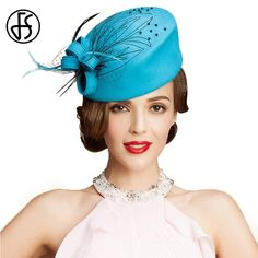 ff4cc27a US $29.12 17% OFF|FS Fascinator Women 100% Australia Wool Pillbox Hat Sky  Blue Ladies Formal Felt Derby Church Hats Winter Flowers Wedding Femme-in  Women's ...