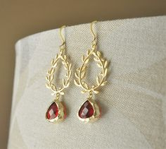 Gold Wreath Earrings/ Red Crystal Earrings/ Long Earrings/ Leaf Earrings/ Holiday Jewelry/ Christmas Earrings/ Christmas Gift for Her by YsmDesigns on Etsy